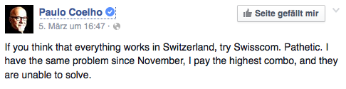 Paulo Coelho vs. Swisscom